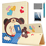 LEXY® Lovely Bear Pattern PU Leather Flip Stand Case with Screen Protector and Stylus for iPad Air 2/iPad 6