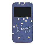 Be Happy Pattern PU Window Full Body Case for iPhone 6 Plus