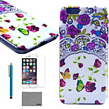 LEXY® Flowers Collection Pattern Hard PC Back Case with 9H Glass Screen Protector and Stylus for iPhone 5/5S