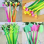 3 PCS Plant Design Soft Rubber Black Ink Gel Pen(Random Color)