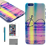 LEXY® Rainbow Anchors Pattern Hard PC Back Case with 9H Glass Screen Protector and Stylus for iPhone 6/6S