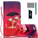 LEXY® Lover Under Umbrella Pattern PU Full Body Leather Case with Screen Protector and Stylus for iPhone 6/6S