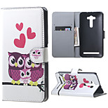 Cute Owls and Hearts Flip Wallet Leather Stand Shell for Asus Zenfone 2 Laser ZE550KL