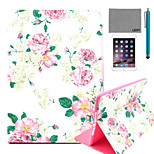 LEXY® Rose Flower Pattern PU Leather Flip Stand Case with Screen Protector and Stylus for iPad Mini 4