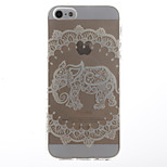 White Elephant Pattern Transparent Soft TPU Back Cover for iPhone 5/5S
