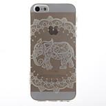 Weißer Elefant-Muster transparent weichen TPU Schutzhülle für iPhone 5 / 5s