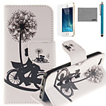 LEXY® Bicycle Lovers Pattern PU Full Body Leather Case with Screen Protector and Stylus for iPhone 5/5S