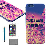 LEXY® Twilight Safflower Pattern Hard PC Back Case with 9H Glass Screen Protector and Stylus for iPhone 5/5S