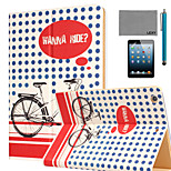 LEXY® Wanna Ride Pattern PU Leather Flip Stand Case with Screen Protector and Stylus for iPad Mini 4