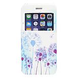 Blue Dandelion Pattern PU Window Full Body Case for iPhone 6