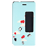 Penguin with Ballon Pattern PU Leather Open Window for Huawei P8