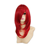 Capless Red Color High Quality Natural Curly Hair   Synthetic Wig with Side Bang