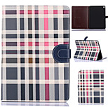 Grid Pattern PU Leather Full Body Tablet Protective Shell with Card Bag for iPad Air 2