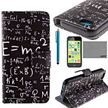 LEXY® Maths Formula Pattern PU Full Body Leather Case with Screen Protector and Stylus for iPhone 5C