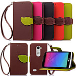 Luxury Leather Card Holder Stand Magnetic Phone Flip Cases Shell Leaf Wallet + Lanyard Cover For LG LEON C40