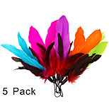 5 Piece Feathers and Soft Furry for Interactive Cat and Kitten Toy Wands