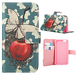 Butterfly And Apple Pattern PU Leather Full Body Cover with Stand for iPhone 6/iPhone 6s
