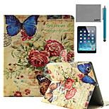 Modelo retro sello mariposa lexy® caso del soporte del tirón del cuero de la PU con protector de pantalla y el stylus para ipad aire /