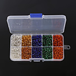 Beadia 1Box/165g Glass Seed Beads Assorted Size 3mm 4mm Round Mixed Colors With Silver Inner