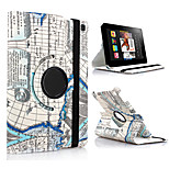 MAP Pattern 360 Degrees Rotating PU Leather Stand Case Cover for Fire HD 6