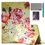 LEXY® Retro Flowers Stamp Pattern PU Leather Flip Stand Case with Screen Protector and Stylus for iPad Mini 4