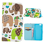 Cartoon Lovely Elephant Pattern PU Leather Full Body Cover with Stand for iPhone 5/iPhone 5s