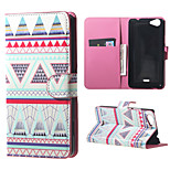 Triangles Pattern on the Branch  Card Holder Leather Stand Case for Wiko Rainbow Jam
