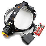 Genwiss Outdoor 3000LM CREE T6 LED Waterproof Headlamp with  2 X 18650  Rechargeable Batteries and 1 X Charger (Gold)
