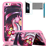 LEXY® Purple Cartoon Cat Pattern Soft TPU Back Case with Screen Protector and Stylus for iPhone 6/6S