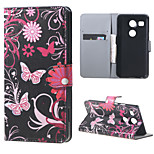 Butterfly Flowers Wallet Leather Stand Case for LG Nexus 5X