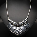 Vintage Circle Pendant C Shape Statement Necklace
