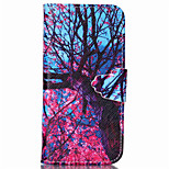 Pink Tree Pattern PU Leather Full Body Cover with Stand for iPhone 5/iPhone 5S