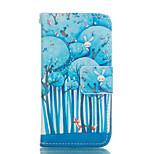 Forest Pattern and Lovers PU Full Body Case with Card Slot and Stand for iPhone 5C