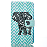 Blue Wave and Elephant Pattern Card Stand Leather Case with Card Slot for iPhone 6 Plus / 6S Plus