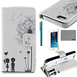 LEXY® Love Dandelion Pattern PU Full Body Leather Case with Screen Protector and Stylus for iPhone 5/5S