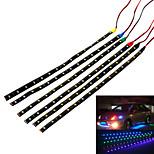 Jiawen 3.7w 300lm 15-3528 SMD LED vandtæt bil dekorativ lampe strimmel (4 stk)