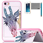 LEXY® Long White Deer Pattern Soft TPU Back Case with Screen Protector and Stylus for iPhone 5/5S