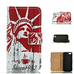 Statue Of Liberty Design PU Full Body Case with Stand with Card Slot for iPhone 5/5S
