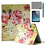 lexy® flores retro selo padrão caso pu estande da aleta de couro com protetor de tela e caneta para ipad ar / ipad 5