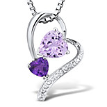 Women's Fashion Sterling Silver set with Amethyst and Diamonds Pendant with Silve Box Chain