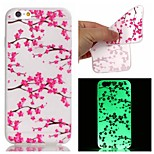 New Plum Flower Pattern TPU Material Luminous Phone Case for iPhone 6/6S