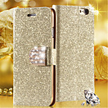 Luxury Shiny Diamond Full PU Leather Case Cover With Safe Buckle Cell Phone Bling Case For iPhone 4/4S (Assorted Color)