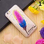 Modelo de la pluma 3d TPU caso para el iphone 6s 6 / iphone (colores surtidos)