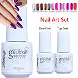 YeManNvYou®3pcs Metal Color UV Gel Polish No.13-24(5ml, 1PCS Nail Polish +1PCS Base Coat + 1PCS Top Coat)