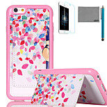 LEXY® Colorful Dots Pattern Soft TPU Back Case with Screen Protector and Stylus for iPhone 6/6S