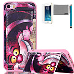 LEXY® Purple Cartoon Cat Pattern Soft TPU Back Case with Screen Protector and Stylus for iPhone 5/5S