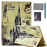 Modelo retro castillo lexy® caso del soporte del tirón del cuero de la PU con protector de pantalla y el stylus para iPad mini 4