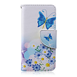 Flower Butterfly Pattern PU Leather Full Body Cover with Stand for iPhone5C