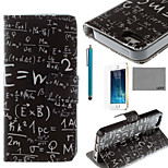 LEXY® Maths Formula Pattern PU Full Body Leather Case with Screen Protector and Stylus for iPhone 5/5S