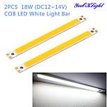 YouOKLight® 2PCS 18W 1700lm 6500K COB LED White Light Bar - Silver + Yellow (12~14V)